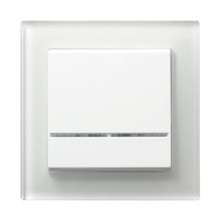 Łącznik jednobiegunowy ŁP-1RS/00 ramka z białego szkła seria Sonata OSPEL