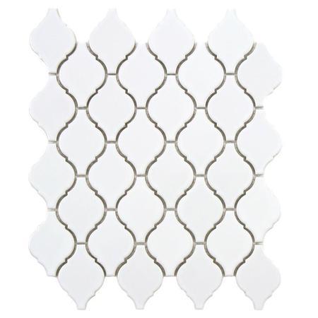 Mozaikowe płytki ceramiczne Arabeska mała, biały połysk Black&White MOZAIKOWE.PL