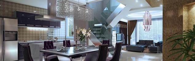 Pomysł na salon w stylu glamour. Aranżacja jadalni