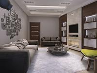 Salon z kominkiem - nowoczesne wnętrze