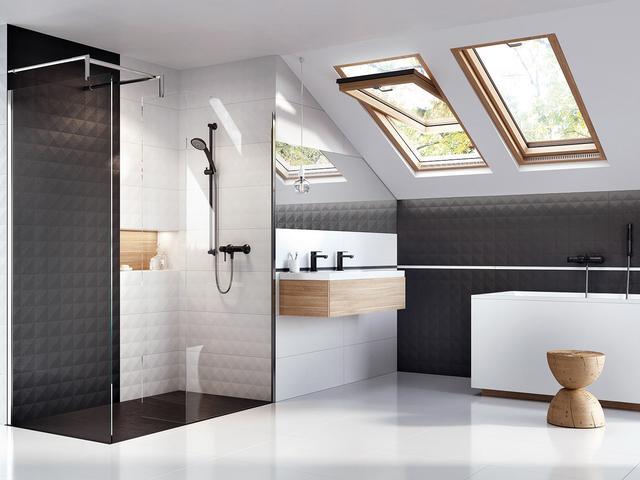 Biało Czarna łazienka Dekory ścienne Ceramstic Stronywnetrza